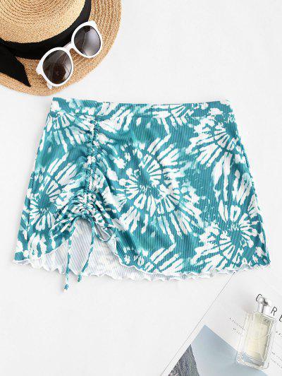 ZAFUL Tie Dye Cinched Ribbed Lettuce Trim Beach Skirt - Blue M