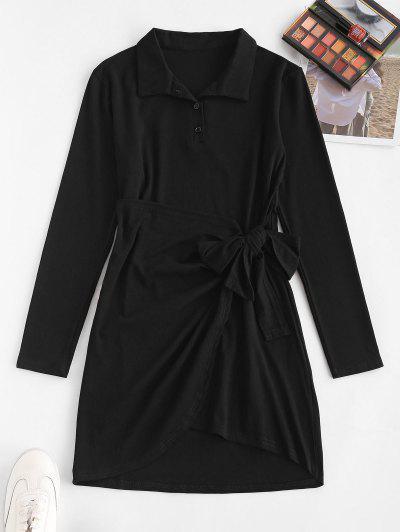 Knotted Overlap Long Sleeve Henley Dress - Black M