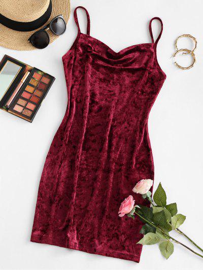 ZAFUL Cowl Front Velvet Mini Dress - Red Wine L