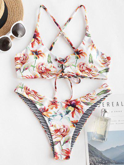 Flower Print Brazilian Bikini Swimwear