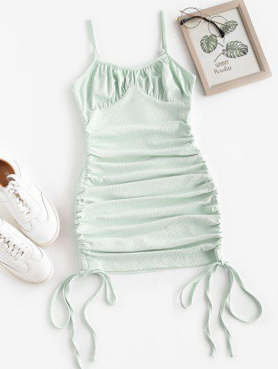 ZAFUL Rib-knit Side Cinched Ruched Bodycon Bustier Dress - Green S