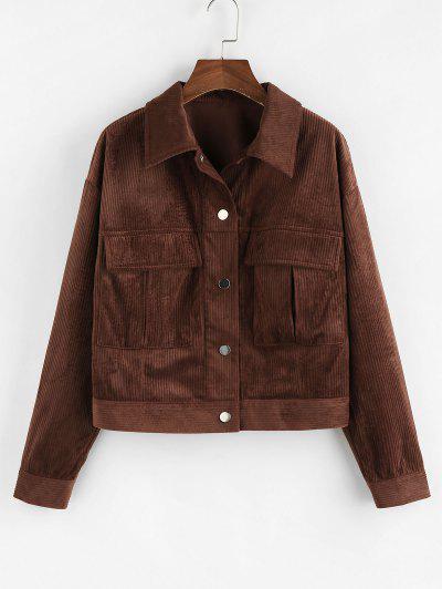 ZAFUL Drop Shoulder Corduroy Pocket Jacket - Deep Coffee M