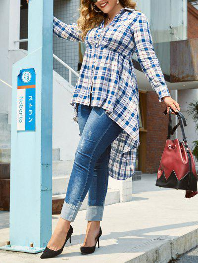 Plus Size High Low Checked Skirted Blouse - Deep Blue 4x