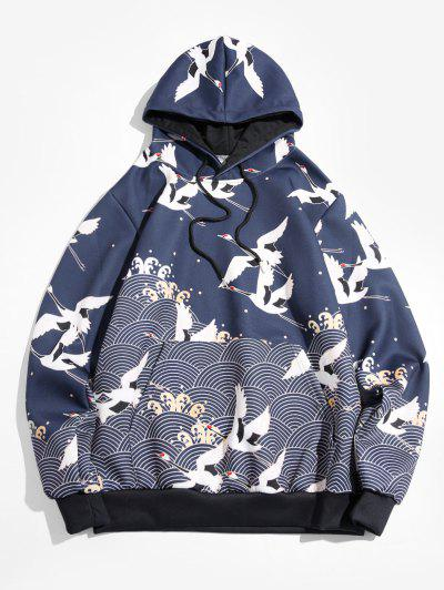 Seamless Wave Cranes Print Pouch Pocket Drawstring Hoodie - Navy Blue 3xl