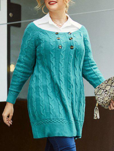 Plus Size Cable Knit Mock Button Long Sweater - Light Blue 5x