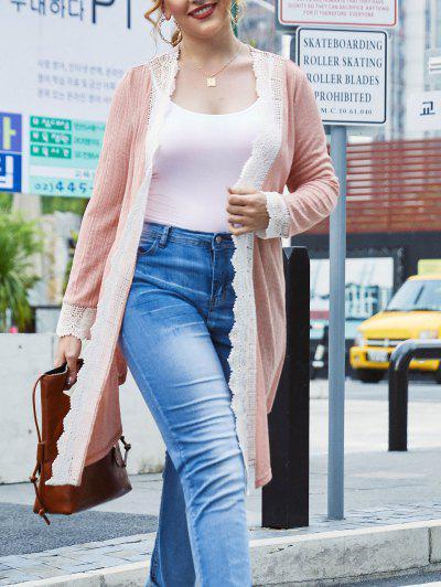 Plus Size Crochet Insert Draped Knit Tunic Cardigan - Pink 4x