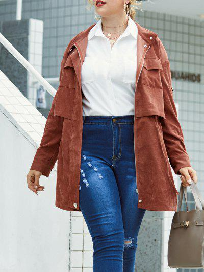Plus Size Corduroy Flap Pocket Zip Roll Up Sleeve Coat - Coffee L