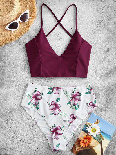 ZAFUL Flower Print Lace Up High Cut Tankini Swimsuit - Deep Red M