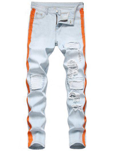Kontrastierte Leichte Wäsche Zerrissene Jeans - Helles Blau 32