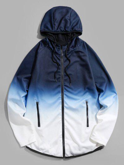 Raglan Sleeve Ombre Zip Up Hoodie Jacket - Blue 2xl