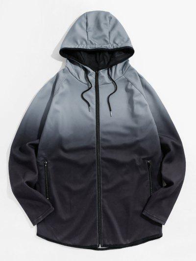 Raglan Sleeve Ombre Zip Up Hoodie Jacket - Gray 3xl