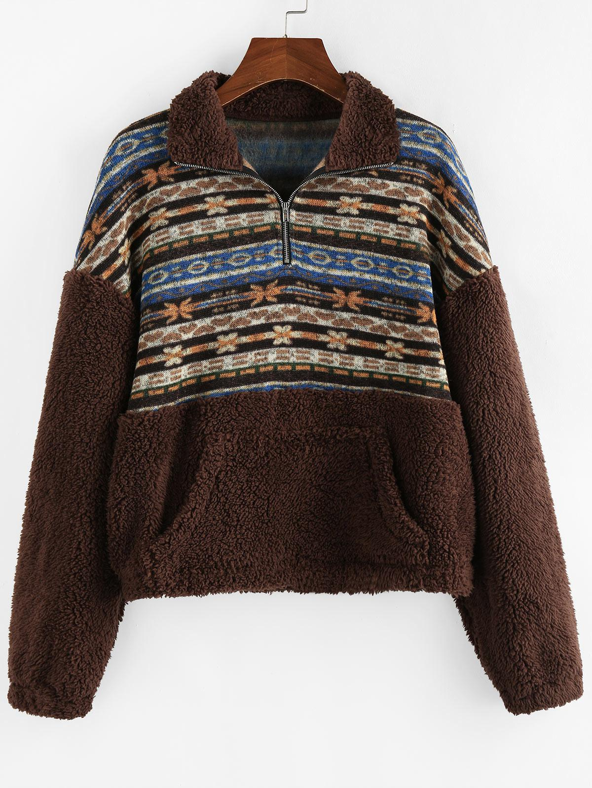 Sweat-shirt Zippé Ethnique Fleuri Imprimé - ZAFUL - Modalova