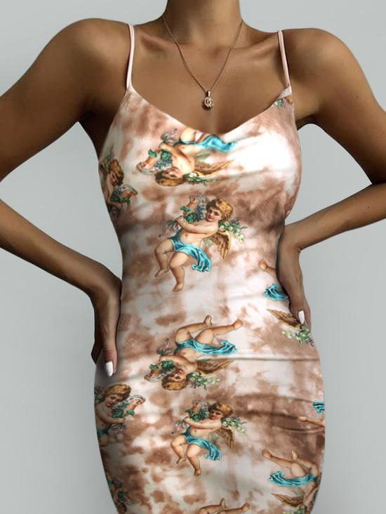 Angel Print Renaissance Art Bodycon Tie Dye Slit Dress