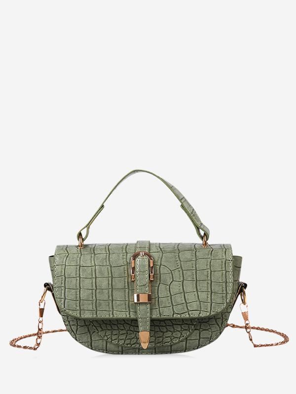 Textured Chain Saddle Hand Bag