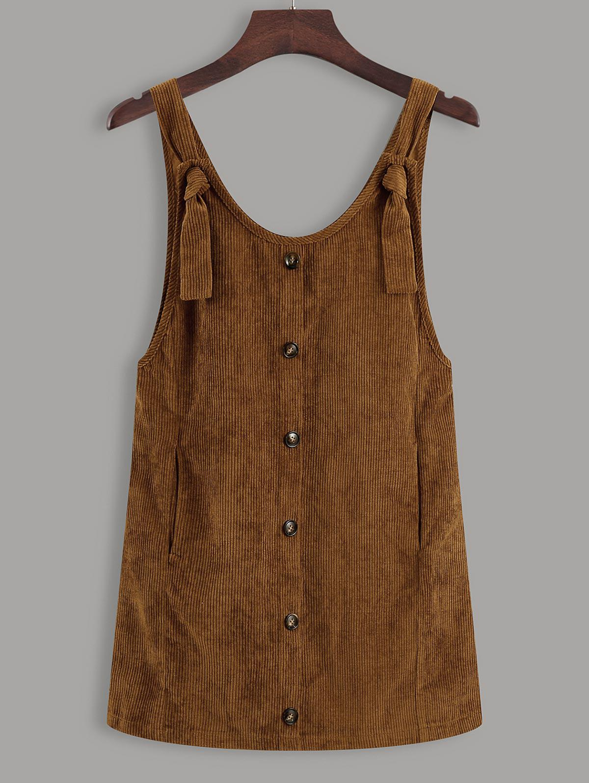 Button Up Tie Shoulder Corduroy Pinafore Dress