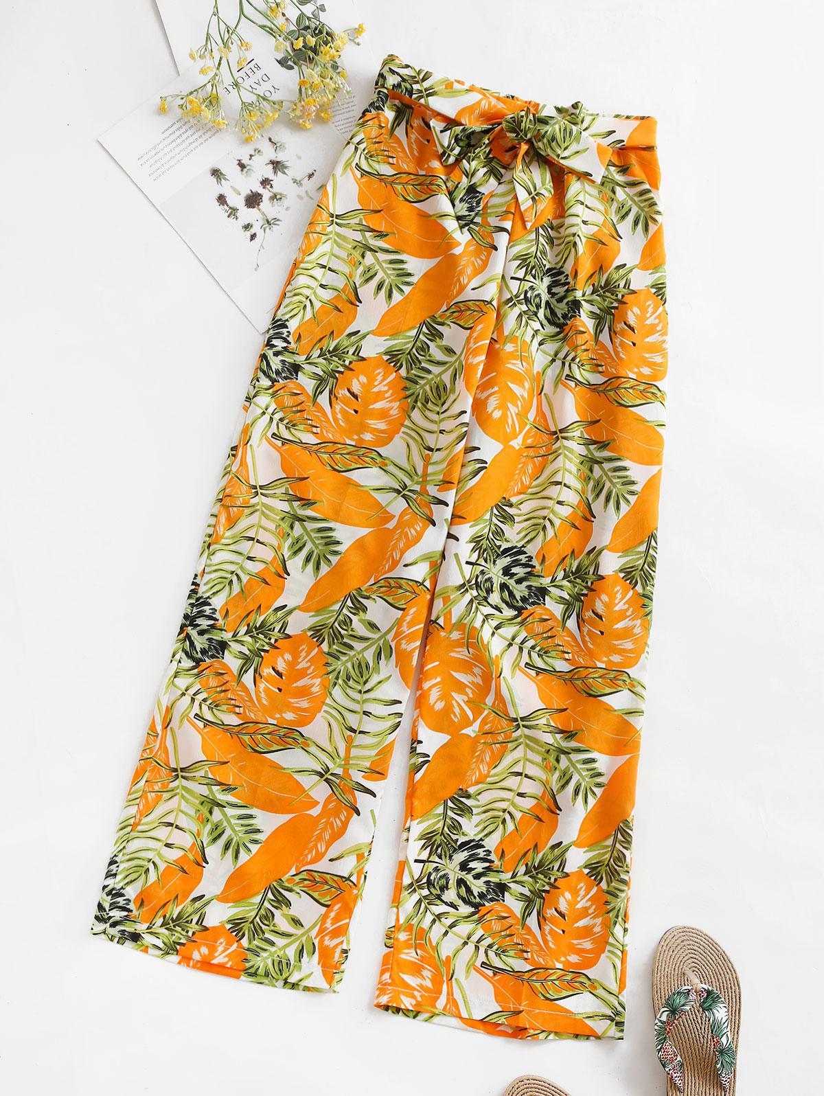 Pantalon Feuille Imprimée Ceinturé à Jambe Large L - Zaful FR - Modalova
