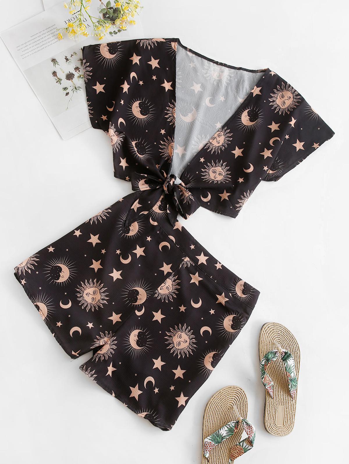 Tie Front Sun Moon Star Print Shorts Set