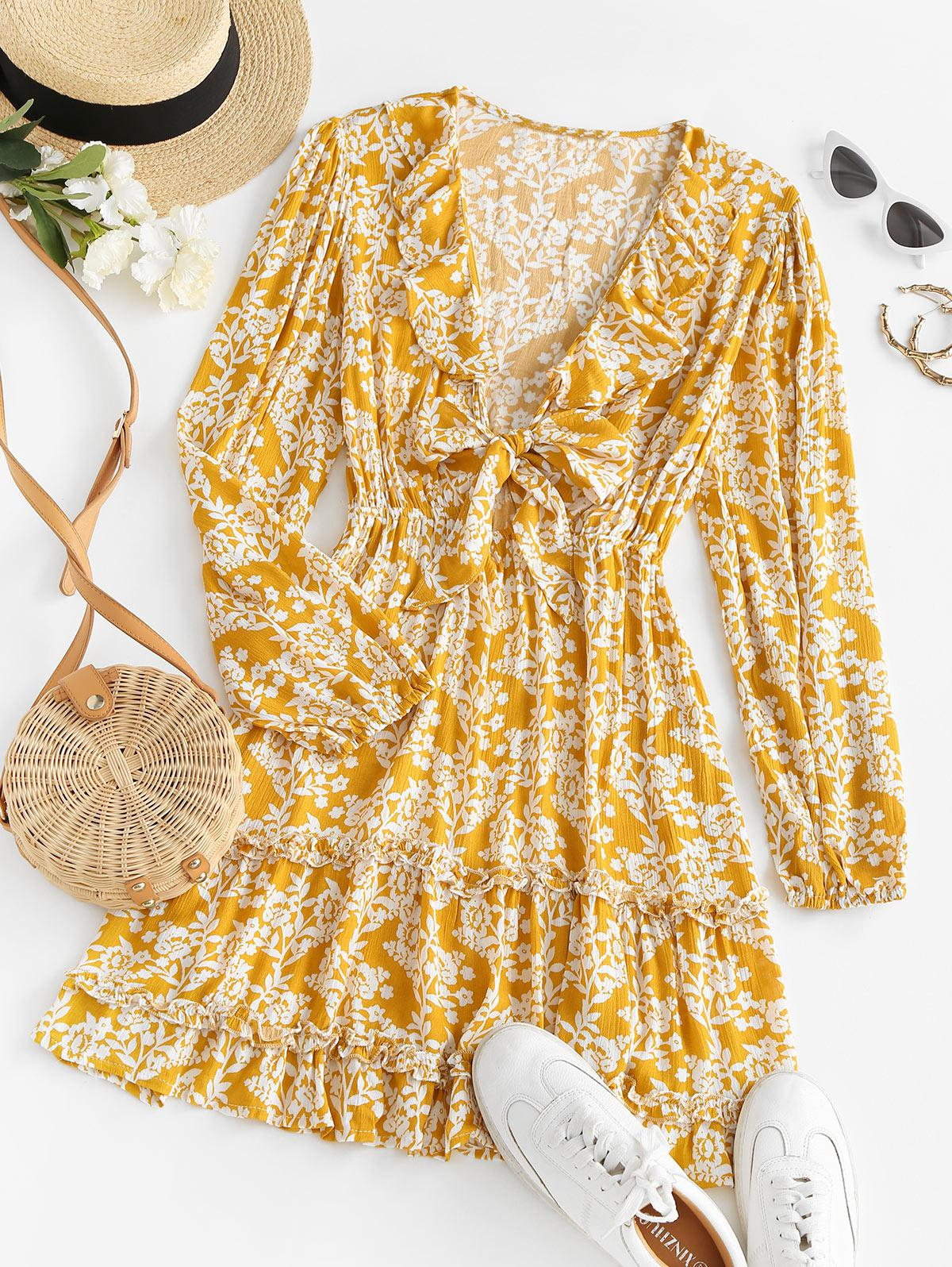 Tie Front Floral Ruffles Long Sleeve Dress