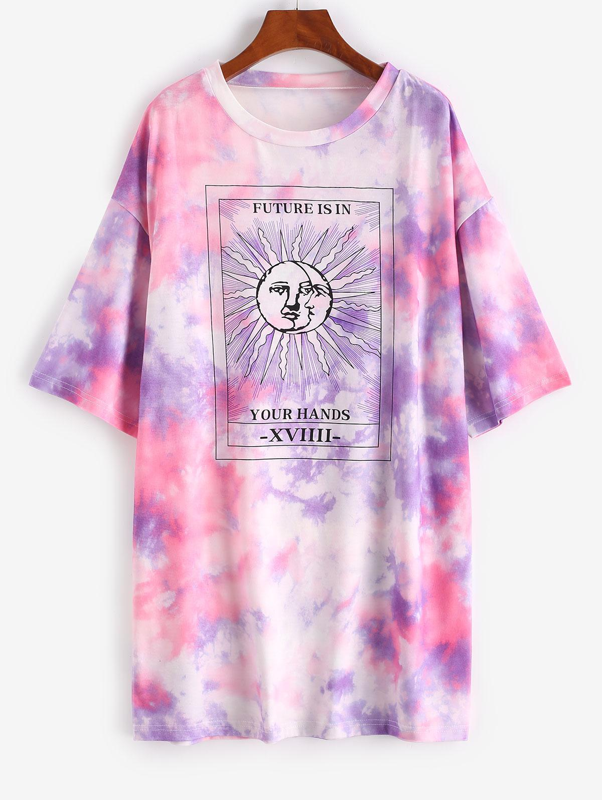 Lou-Ann Vecchia X ZAFUL Tie Dye Sun Pattern Drop Shoulder Tee Dress