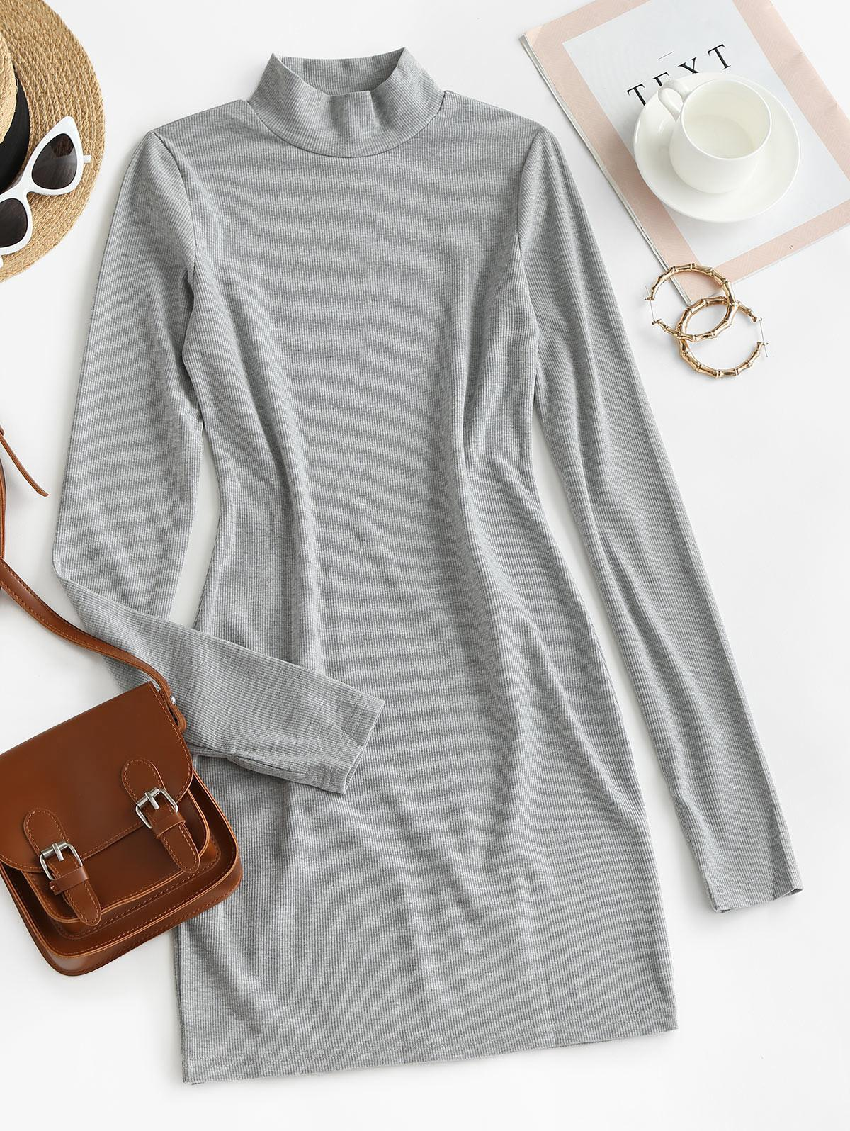 Long Sleeve Ribbed Mock Neck Mini Dress