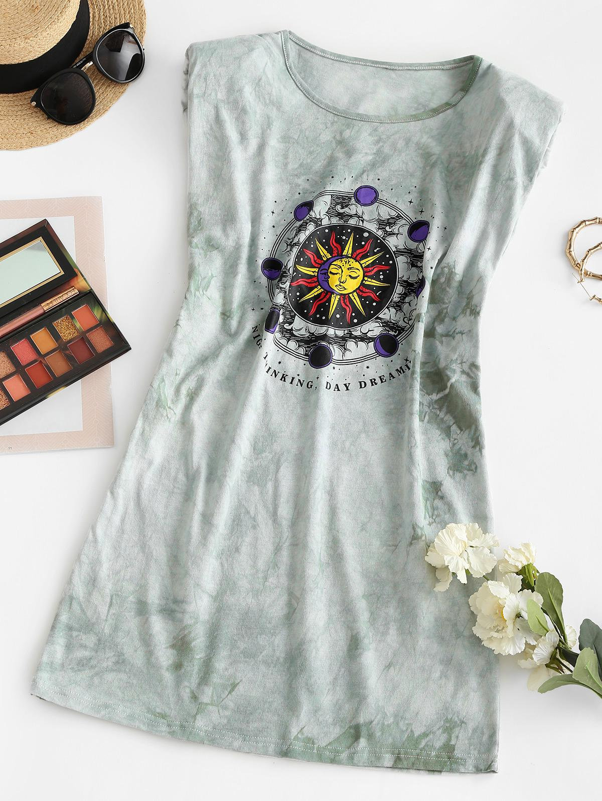 Padded Shoulder Sun Graphic Tie Dye Mini Dress
