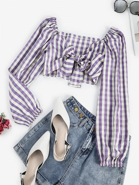 fancy Tie Front Stripes Cropped Blouse - PURPLE M