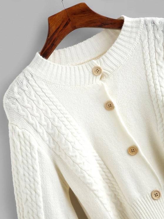 Cable Knit Balloon Sleeve Short Cardigan - White   ZAFUL