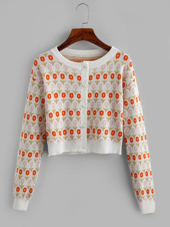 new Jacquard Beaded Button Short Cardigan - ORANGE ONE SIZE