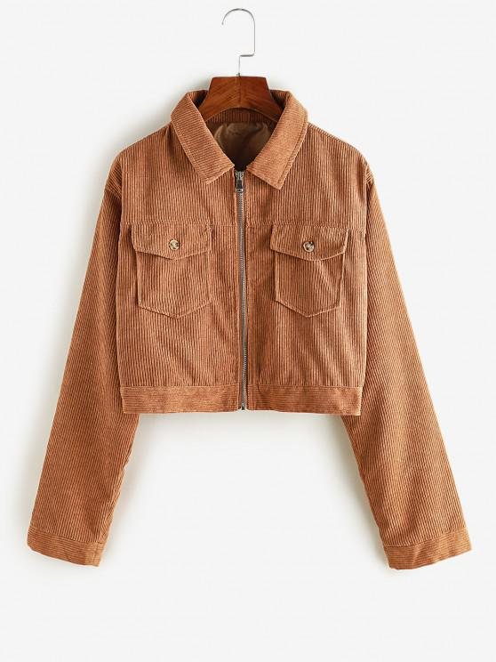 outfits Zip Up Pockets Corduroy Cargo Jacket - COPPER S