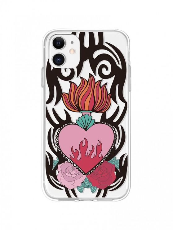 Flame Flower Print Phone Case For IPhone - أسود اي فون 11