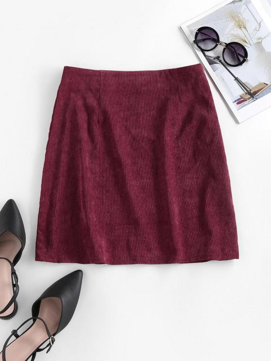 ladies ZAFUL Corduroy Slit A Line Skirt - DEEP RED M