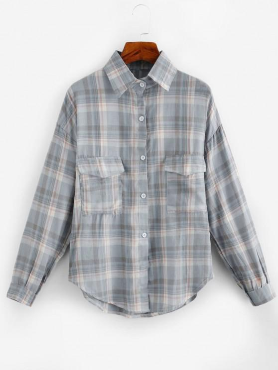 fashion Oversized Long Sleeves Plaid Shirt with Pocket - GRAY ONE SIZE