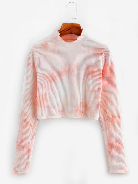 ladies Tie Dye Ribbed Mock Neck Crop T-shirt - LIGHT PINK L