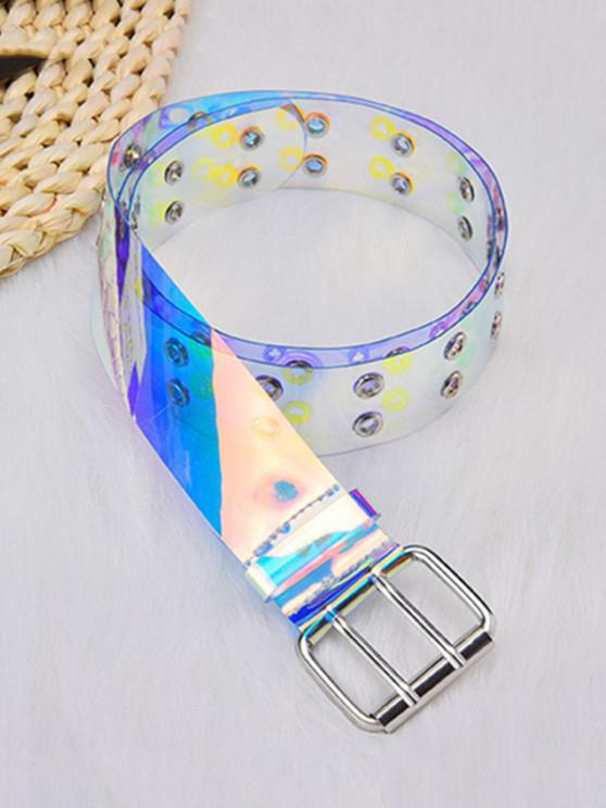 buy Y2K Transparent Grommet Holography Belt - MULTI-A