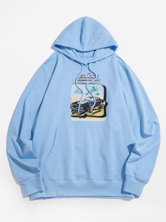 Moletom Casaco Casual com Estampa Gráfica de Carro - Azul claro 2XL