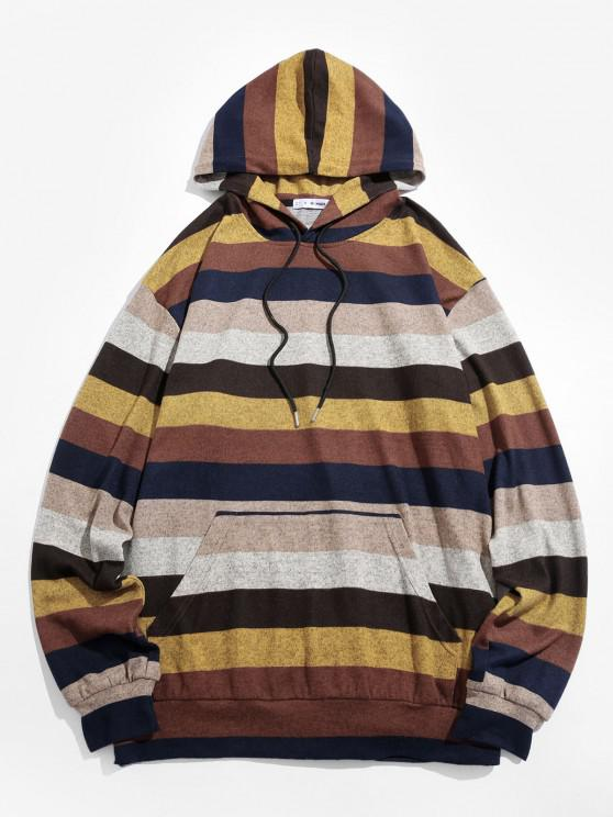 unique ZAFUL Colorblock Striped Knitted Hoodie - MULTI S