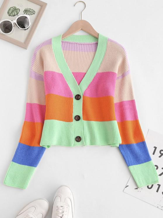 outfit V Neck Colorblock Stripes Button Up Cardigan - MULTI ONE SIZE