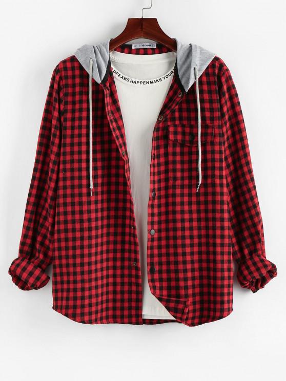 outfits ZAFUL Plaid Pattern Pocket Colorblock Hooded Shirt - MULTI 2XL