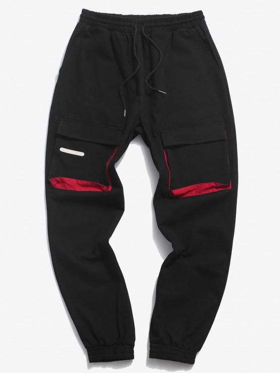 ZAFUL Colorblock Panel Pocket Beam Feet Cargo Pants - أسود XL