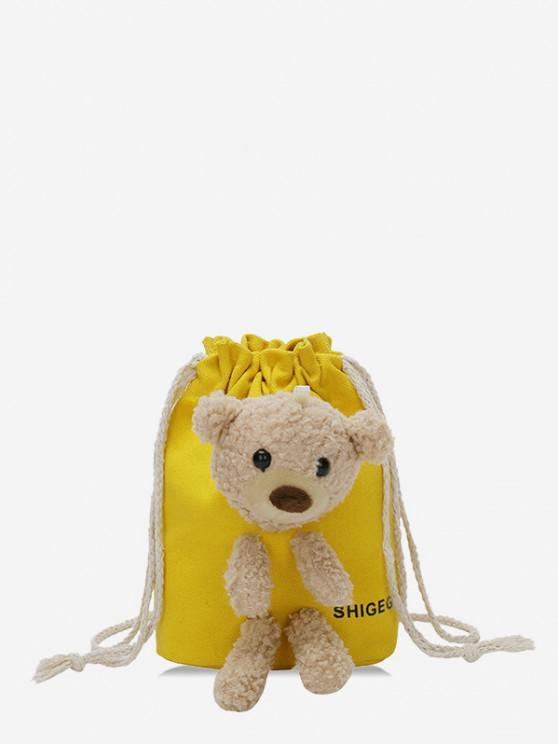 latest Plush Bear Mini Drawstring Bucket Crossbody Bag - SUN YELLOW