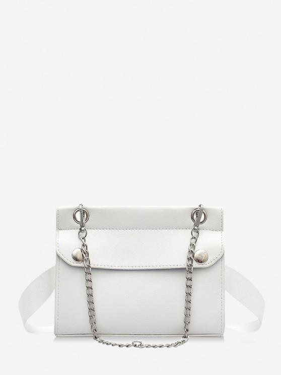 Mini Umhängetasche mit Kettenriemen - Weiß