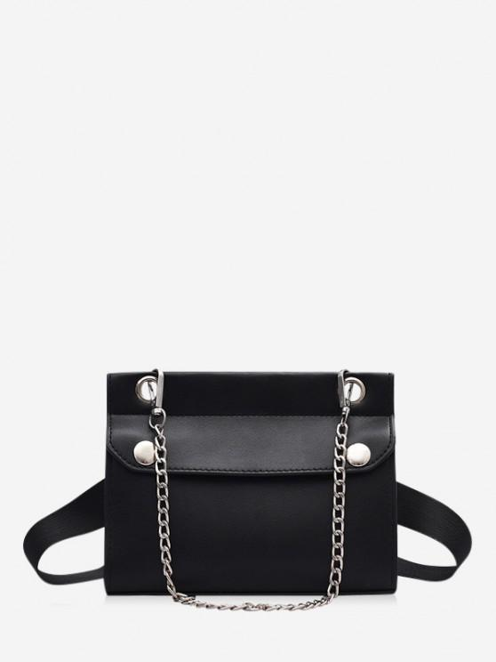 fancy Chain Embellished Convertible Strap Mini Crossbody Bag - BLACK