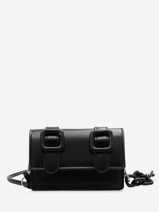 women Chain Mini Crossbody Messenger Bag - BLACK