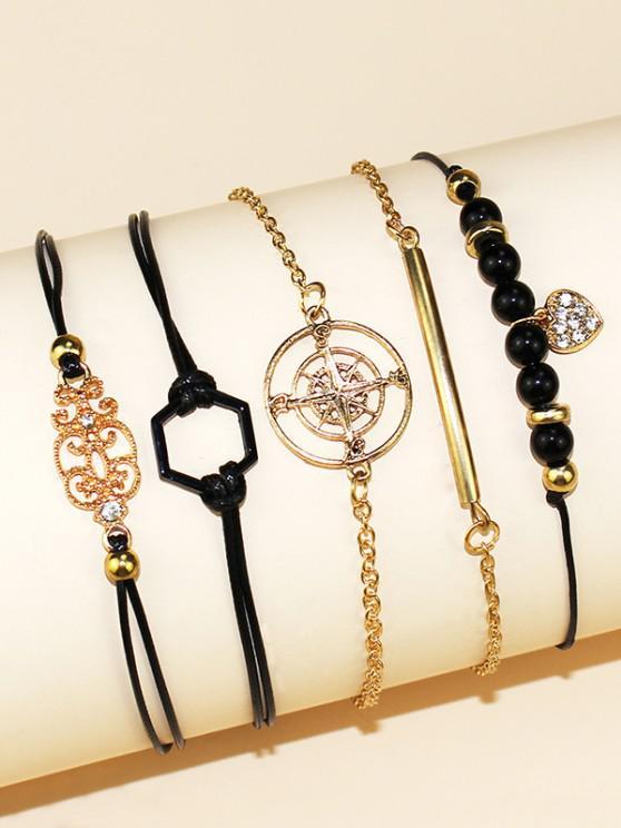 unique 5 Piece Heart Star Geometric Rope Chain Bracelets Set - GOLDEN