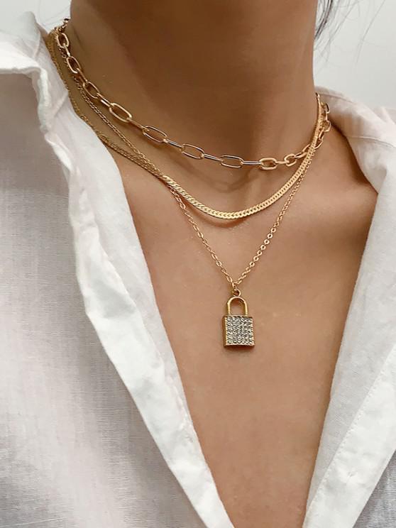fancy 3 Piece Rhinestone Key Multilayered Chain Necklaces Set - GOLDEN