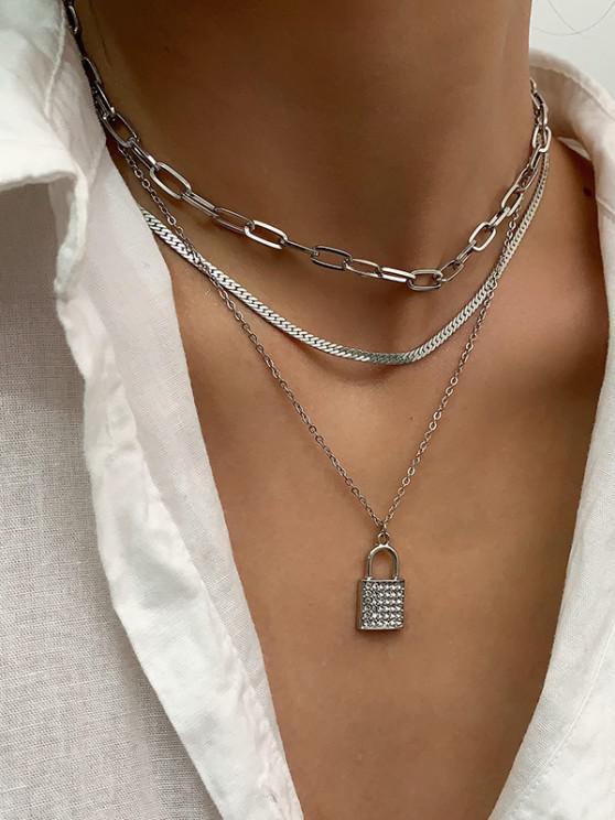 unique 3 Piece Rhinestone Key Multilayered Chain Necklaces Set - SILVER