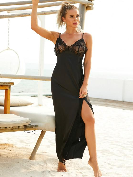 outfit ZAFUL  High Slit Lace Insert Cami Sleepwear Dress - BLACK S