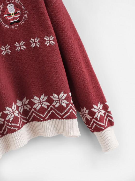 Chirstmas Santa Claus Embroidered Snowflake Sweater - Red | ZAFUL