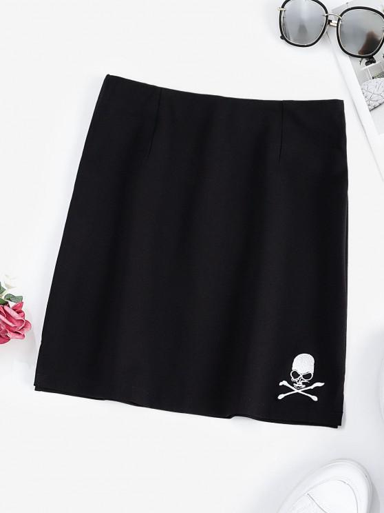 affordable Halloween Skull Embroidered Mini Skirt - BLACK S