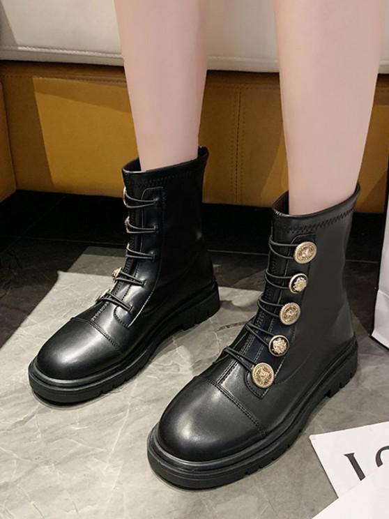ladies PU Leather Low Heel Button Ankle Boots - BLACK EU 37